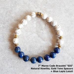 "Lapis Lazuli Morse Code Bracelet Spelling: ""SIS"""